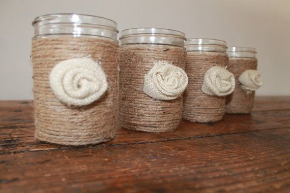 Jute Wrapped Mason Jar with Burlap Rosette by RusticCottageDesigns, $7.00