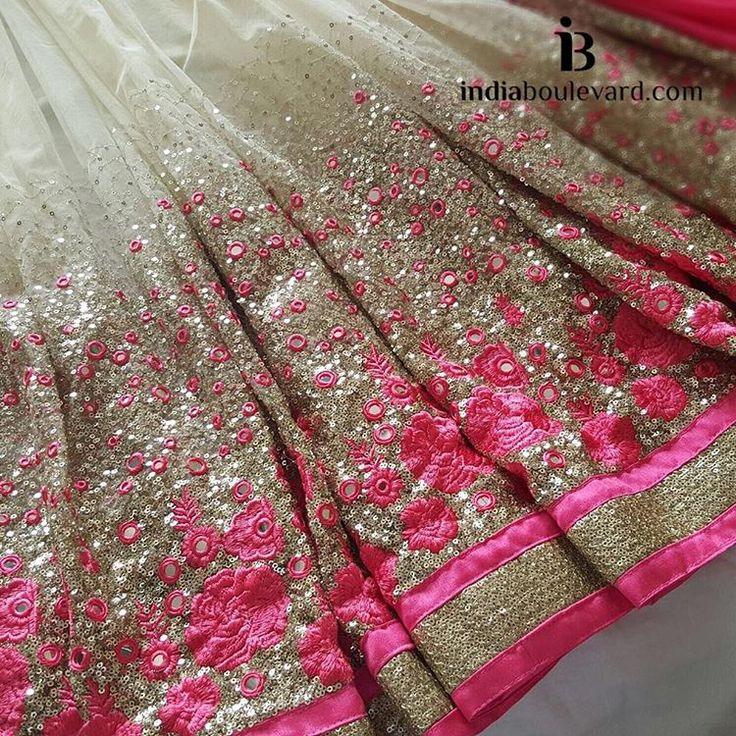 """""""This combination is perfection, pink roses, gold sequin work and mirror work saree. Who agrees? For all prices and inquries, please email us at…"""""""