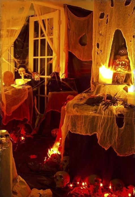 50 stylish halloween house interior decorating ideas love the twinkle lights in the skulls