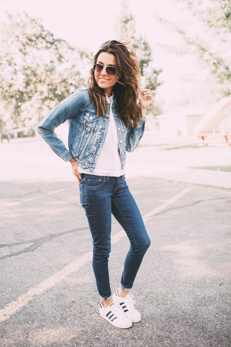 1a52690090 Pairing two different shades of denim is a great way to maintain variety  within your look. Christine Andrew is rocking this style
