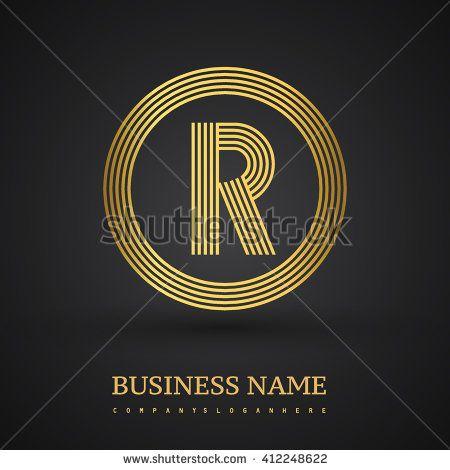 Elegant gold letter symbol. Letter R logo design. Vector logo design template elements  for company identity. - stock vector