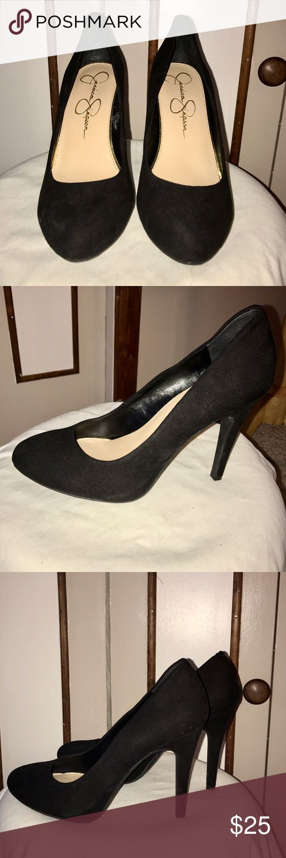 """Jessica Simpson Black Pumps. 4"""" Heel. Like New! Jessica Simpson Black Pumps. 4"""" Heel. Like New! No sign of Wear on shoes. The bottoms look like they have Wear but it's the material. Shoe is suede Jessica Simpson Shoes Heels"""