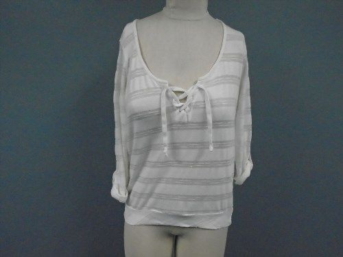 51.84$  Buy here - http://viulu.justgood.pw/vig/item.php?t=ietb134699 - SPLENDID Ivory Polyester Blend Casual V Neck Striped Knit Top Size S CC2231 51.84$
