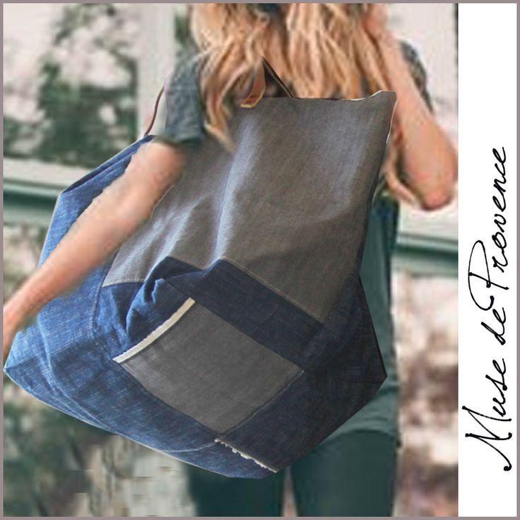 maxi sac cabas en patchwork jeans 4