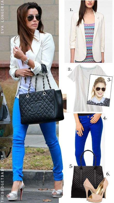 Eva Longoria's white blazer, cobalt jeans, Chanel bag and Christina Louboutin heels look for less #dressbynumber