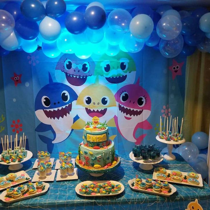 Baby shark Birthday Party Ideas | Photo 2 of 19 | Catch My Party