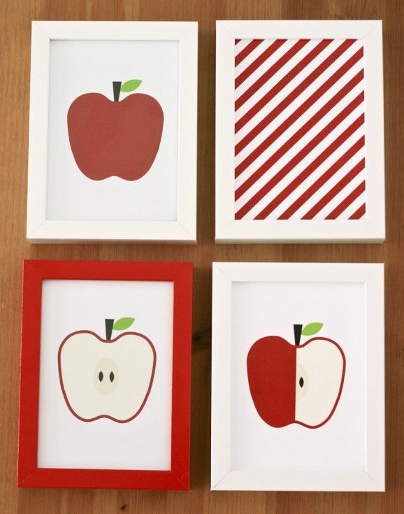 Free Printable Apple Art Decor and 12 Free Printables for Fall at PagingSupermom.com