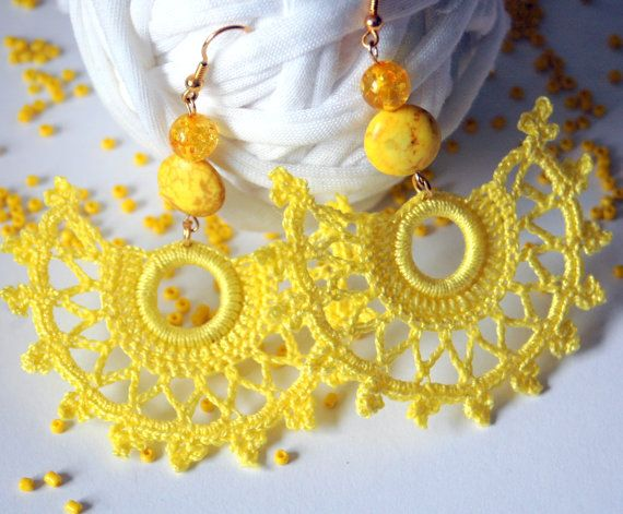 Crochet earring jewelry Large crochet earring by lindapaula, €8.00