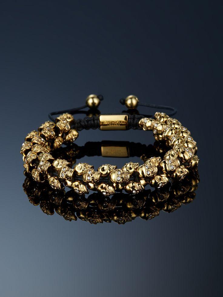 Gold & Clear Swarovski Crystal Skull 'Swarm' Bracelet