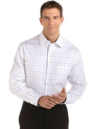Casual Shirts - Pronto Uomo White Check Woven Shirt - Men's Wearhouse