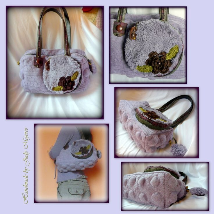 Handmade by Judy Majoros- Bubble Lavender knit handbag. Leather strap. Faux fur handbag. Knit shoulder Bag.Recycled bag