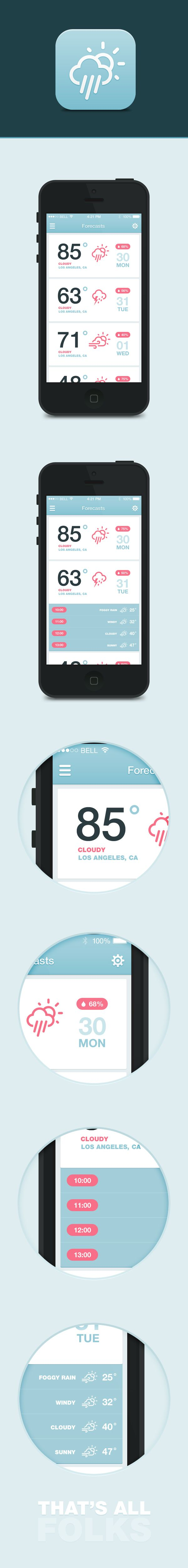 iOS7 Weather App by Dmitriy Haraberush, via Behance