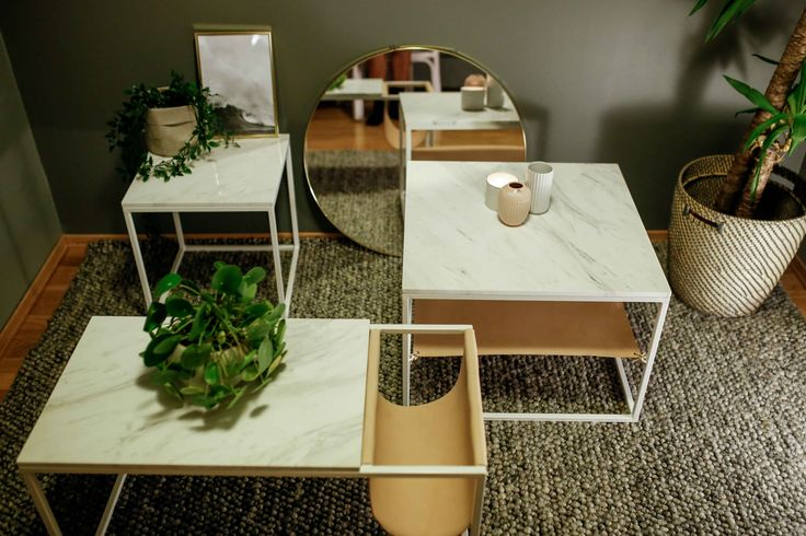 Beautiful living room tables with white marble and nature leather. Sidetable, small table, coffetable, stand by me table- check the all out at www.elmholtshop.com