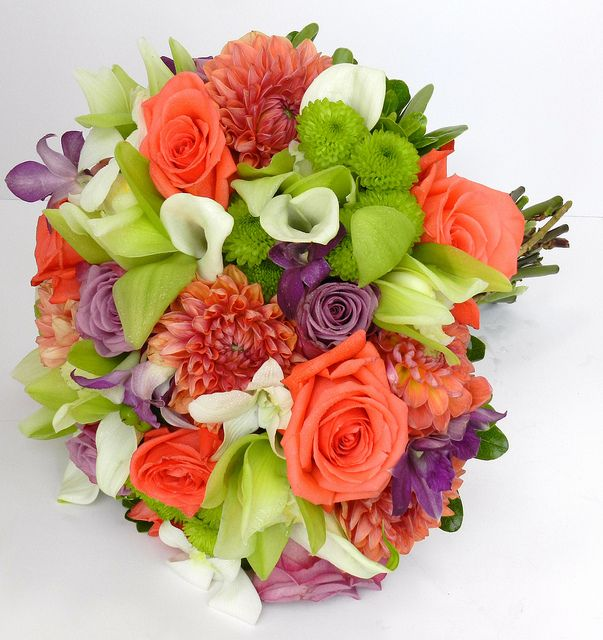 Guava Wedding, Bolingbrook, IL. Bridal Bouquet, coral and lavender roses, white and purple dendrobium, coral dahlias, green cymbidium | Flickr - Photo Sharing! Pink, Coral, Lime and White
