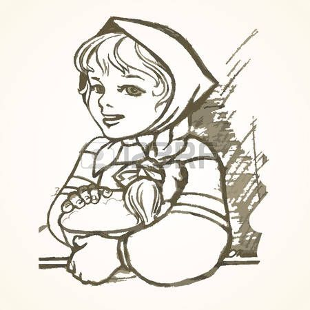 Hand drawn Russian girl in a sundress and a scarf on her head with a basket. Eps-8.