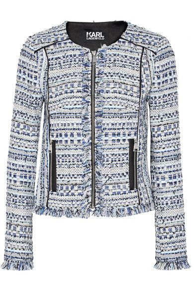 KARL LAGERFELD Satin-trimmed fringed metallic tweed jacket. #karllagerfeld #cloth #jackets