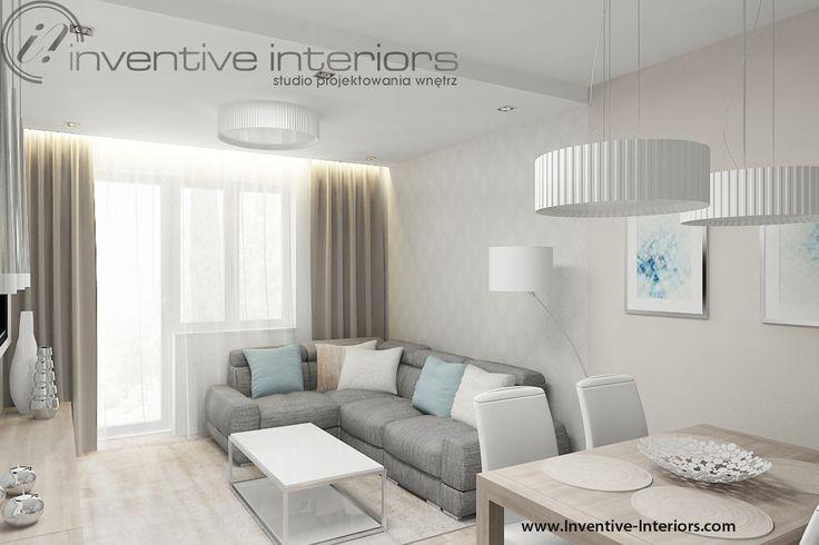 Projekt salonu Inventive Interiors - delikatny beż w subtelnym stonowanym salonie z dodatkiem błękitu