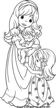 Printable precious moments family coloring pages
