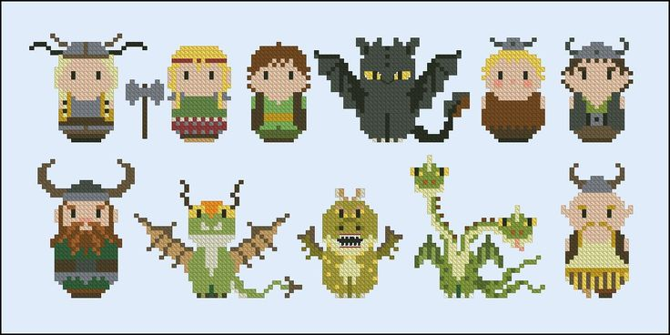 How to Train your Dragon - Mini People - Cross Stitch Patterns - Products
