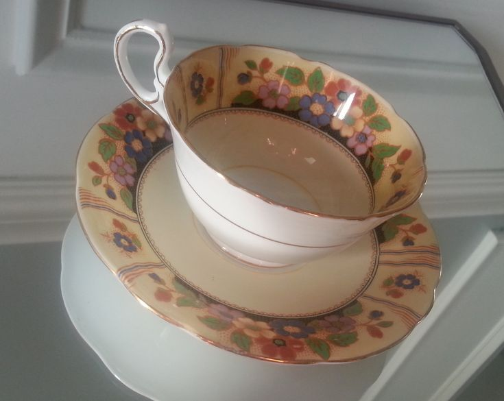 Antique Aynsley art deco floral rim tea cup and saucer, cream and white tea cup, floral English tea set, wedding gift by Pickedtwice on Etsy