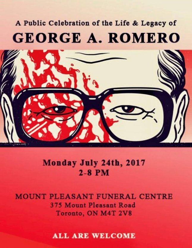 Report: George A. Romero Memorial in Toronto   A report from George A. Romeros public memorial in Toronto  We lost the iconic filmmaker and genre-innovator George A. Romero on July 16th at the age of 77. The world will not see another like him. And although Romero spent his peak creative years making movies in and around Pittsburgh he moved to Toronto in 2005 after making Land of the Dead and stayed her marrying again and making his final two Dead movies in the Canadian city. It was there…