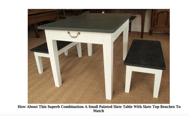 How About This Superb Combination A Small Painted Slate Table With Slate Top Benches To Match www.slatetoptables.com