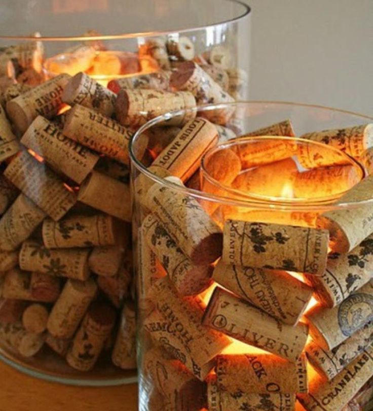 Cork dining table centerpiece for a wine tasting party