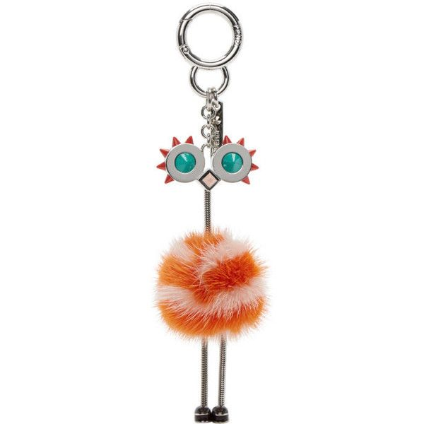 Fendi Orange Ostrich Keychain (£455) ❤ liked on Polyvore featuring accessories, orange, ring key chain, keychain key ring, key chain rings, fob key chain and fendi
