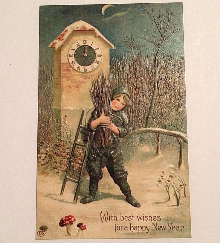 Vintage New Year Postcard Embossed Printed in Germany early 1900s Unposted #NewYear