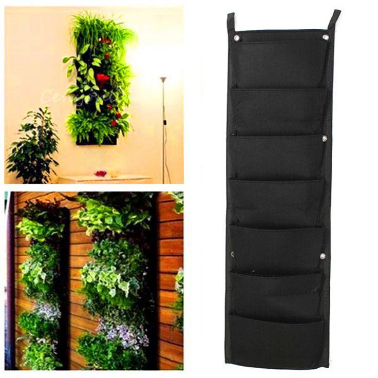 2016 Nouveau 7-poche Nouveau Feutre 1 PC En Plein Air Vertical Jardinage Pots De Fleurs et Jardinières Pots Suspendus Planteur Sur Le mur Vert domaine(China (Mainland))