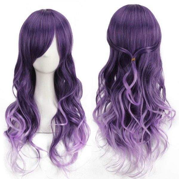 YX Harajuku anime Cosplay Purple Gradient Long Curly Hair Wig/Party... ($12) ❤ liked on Polyvore featuring beauty products, haircare, hair styling tools and curly hair care