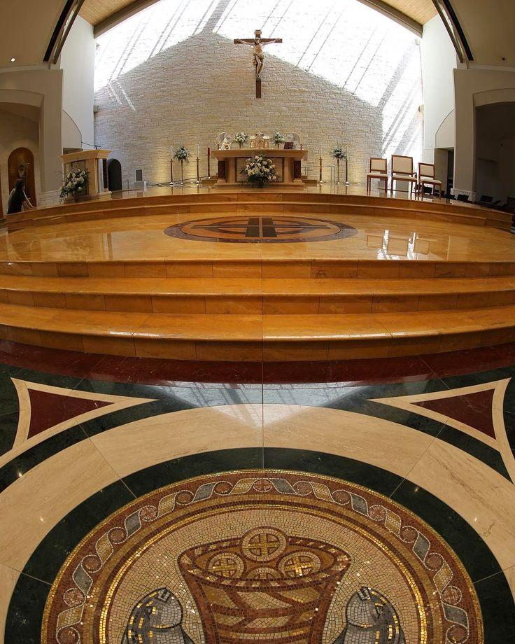 Mosaic flooring design, St. John Vianney Catholic Church, Houston, TX. Renovation. Liturgical design by Rohn & Associates Design.
