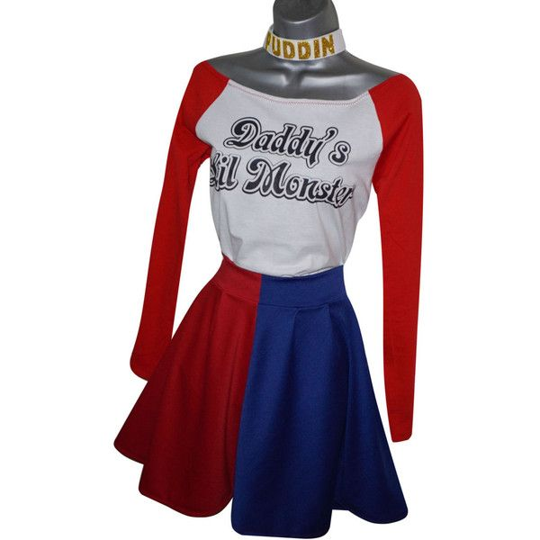 Harley Quinn Skater Skirt Suicide Squad Red Blue (UK 14-16) (US 10-12)... ($45) ❤ liked on Polyvore featuring costumes, harley quinn cosplay costume, blue halloween costume, cosplay costumes, fancy costumes and cosplay halloween costumes