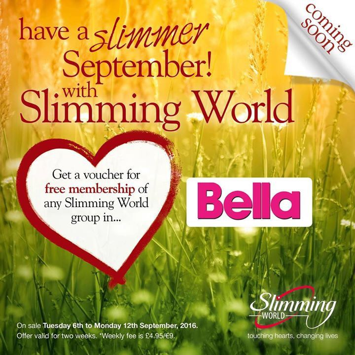 Slim into September with a voucher for free membership of your local Slimming World group, saving £10 in next week's Bella Magazine. ❤️
