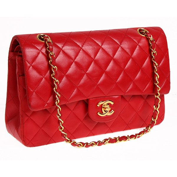 Authentic Chanel Red Lambskin Double Flap Bag-excellent : MALLERIES ❤ liked on Polyvore featuring bags, handbags, chanel, bolsas, laukut, chanel bags, lambskin bag, lamb leather handbags and lambskin leather purse