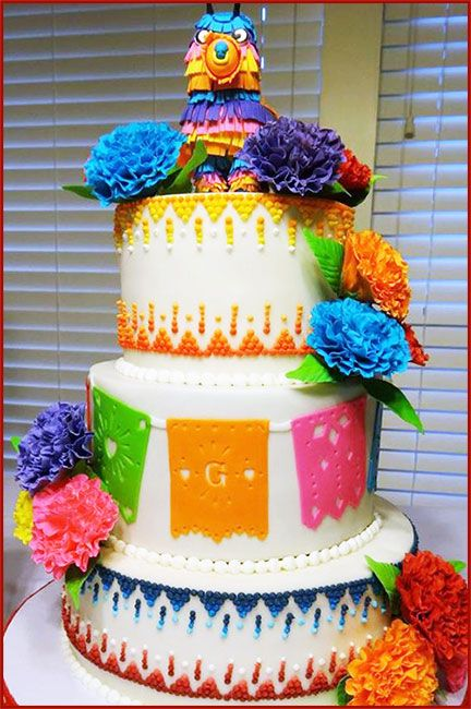 Mexican Fiesta Couple's Shower Cake with flags, gumpaste carnations and fondant piñata topper by kellyk1234 on Cake Central