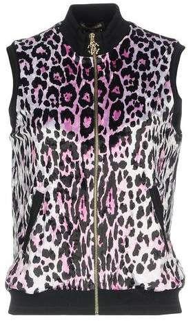 ROBERTO CAVALLI GYM Sweatshirt| Sleeveless gym jacket| PINK Leopard print  ladies gym gear #