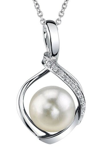 14K White Gold 8-8.5mm White Akoya Cultured Pearl & Diamond Pendant Necklace