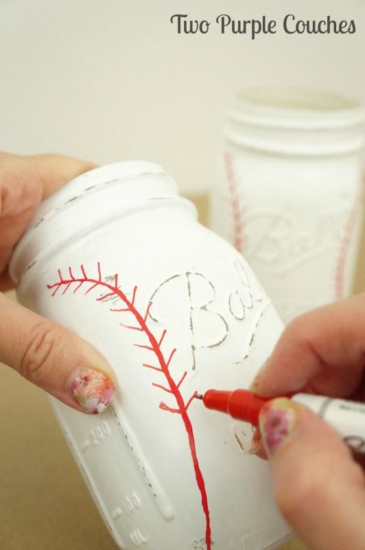DIY Craft: DIY Painted Baseball Mason Jars