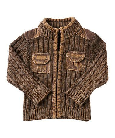 Love this Vintage Brown Zip-Up Sweater - Infant on #zulily! #zulilyfinds