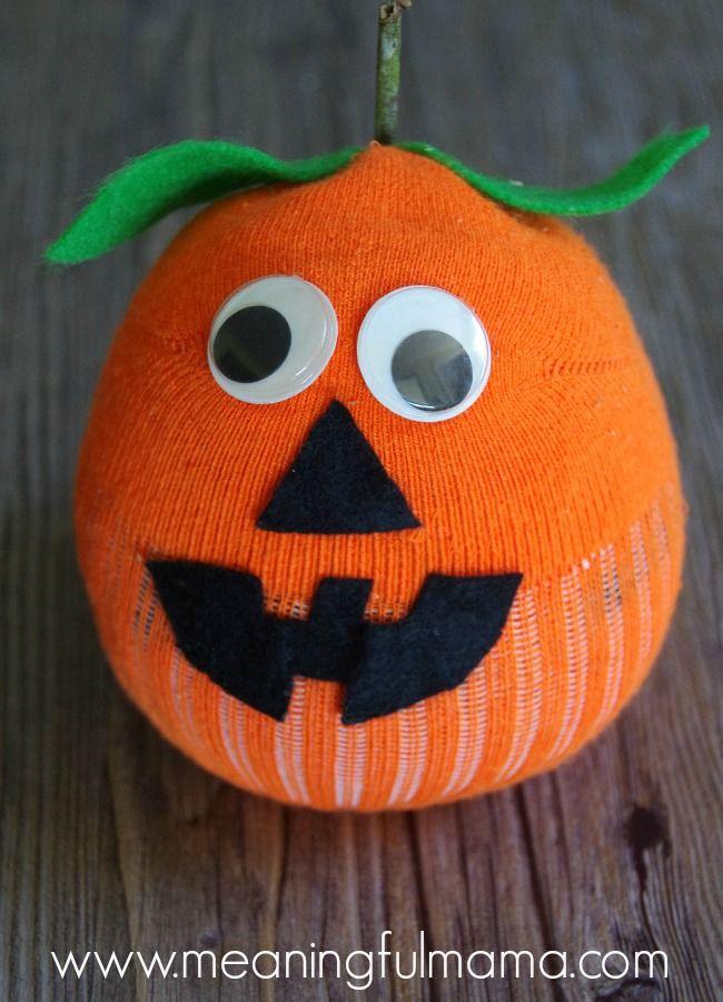 Sock Pumpkin Craft - Great Fall, Harvest or Halloween Jack-O-Lantern Craft for Kids
