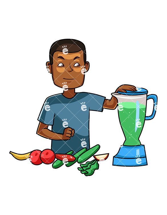 A Black Man Making A Healthy Smoothie:  #african #african-american #american #apple #banana #black #blender #body #breakfast #cartoon #character #cleaneating #clipart #cucumber #darryl #detox #diet #drawing #drink #drinkable #drinking #eat #eating #energetic #energy #food #foodie #fruit #graphic #greens #health #healthy #human #illustration #image #individual #juice #juicer #kale #lettuce...