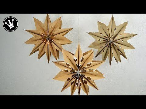 Sterne basteln mit Papier-Butterbrottüten zu Weihnachten. Einfache DIY Weihnachtssterne falten. Deko - YouTube