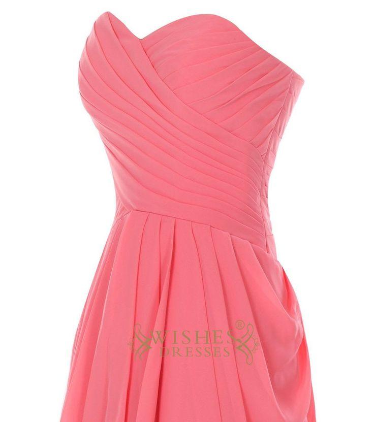 Coral Chiffon Slight Pick-up Side Knee Length Bridesmaid Dress/ Short Prom Dress Am28