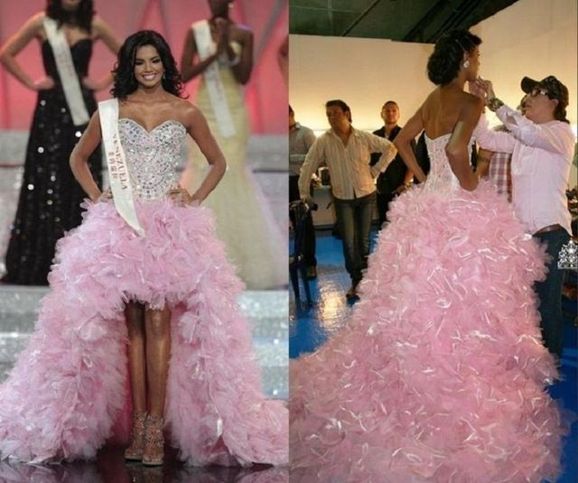 Miss Universe High Low Prom Dress Sweetheart Neck Ruched Pink Pageant Dresses for Women Vestidos Gala