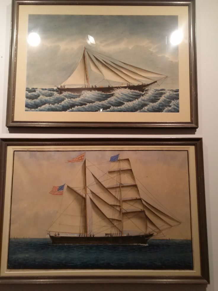The two paintings of the Brig R. M. Heslan.  under the command of Captan Zenna Gould. The lower painting shows the ship at full sail. the upper painting shows the ship under a jury rig. While bringing back a supply of oranges the ship was caught in a storm. Her formast was carried off in the storm and thus the crew jury rigged her to keep her sailing. The crew survived the return journey to Boston on rainwater and the cargo of oranges. #brig, #sailing, #painting, #chathamhistoricalsociety