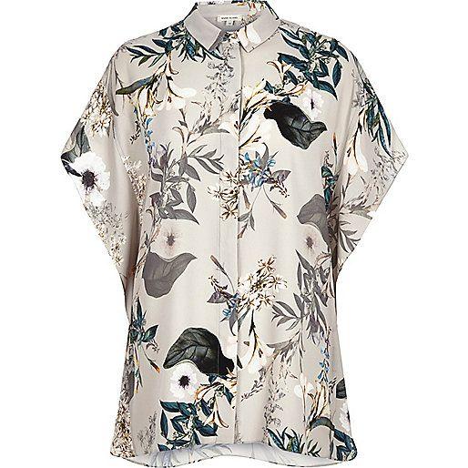 Grey floral print batwing shirt - shirts - tops - women