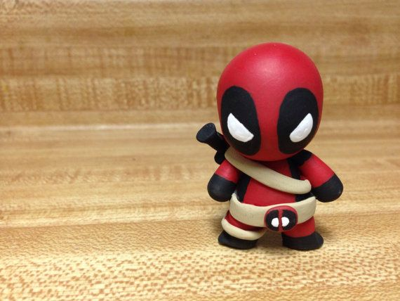 Re-Pin By @siliconem -  Deadpool Polymer Clay Figurine by EveryLonelyMonster on Etsy, $10.00