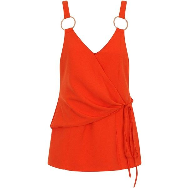 Orange Tie Wrap Front Rose Gold Ring Detail Cami Top (1.795 RUB) ❤ liked on Polyvore featuring tops, red singlet, camisole tank top, camisole tank, red cami and orange camisole
