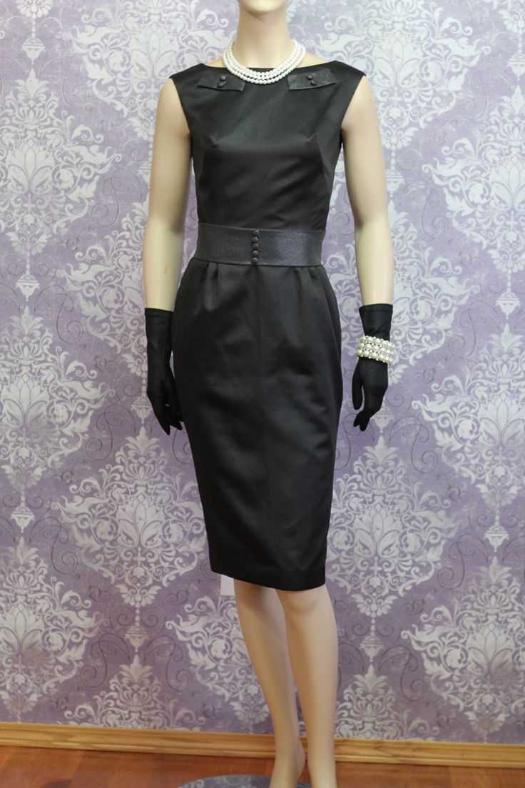 Vintage Black Satin Pencil Dress 1950s Little Black Dress Emogene Couture Pinup Tiny Covered Buttons by Emogenecouture on Etsy